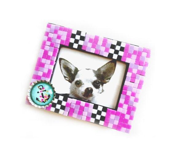 Nautical Anchor Pink Black Teal Mosaic Tile Frame, Small Photo Frame, Pink Check Mosaic Frame, Mini Tile Anchor Mosaic Frame, Nautical Frame