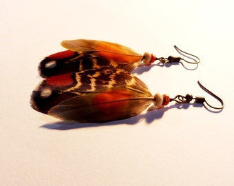 Natural feather earrings, handmade