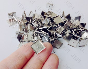 100 Earring Blanks-  Stainless Steel Post Earring W/ 9.8x9.8mm Square Bezel Setting Wholesale Earring Base Hypoallergenic Stud Earrings
