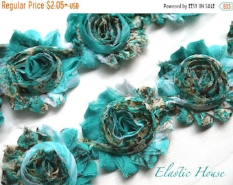 "SALE 30% OFF 2.5"" PRINTED  Shabby Rose Trim- Teal/Blue Floral -Chiffon Trim - Teal Shabby Trim - Hair Acessories Supplies"