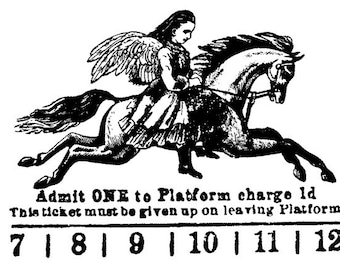EZ Mounted Rubber Stamp Avant Garde Collage Ticket Man with Wings on Horse Altered Art Craft Scrapbooking Cardmaking Collage Supply.