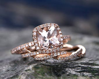 Cushion Morganite engagement ring-Solid 14k Rose gold morganite ring set-Twisted Real Diamond Band- promise ring for her -halo wedding band