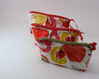 Mod Apple Print Zippered Pleated Bag Zip Pouch Makeup Bag Cotton Fabric Bag Cosmetic Bag
