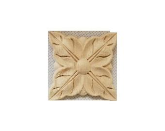 Wood Carving Square Rosette