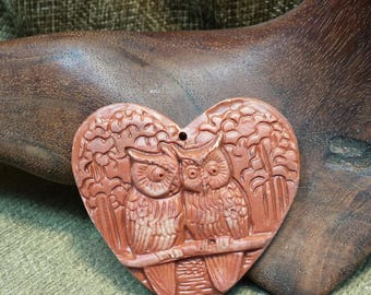 Sale #EarthDay ~ Two Owls Sitting in a Tree K I S S I N G Red Malachite