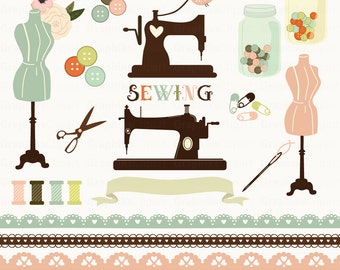 Sewing Set. Sewing machine, craft clip art, sewing clip art, needle and thread. 20 images, 300 dpi. Eps, Png files. Instant Download.