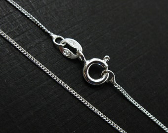 Sterling Silver Necklace Chain - Tiny Curb - Finished Necklace for Pendant - 18 inches - Silver Chain Necklace  - SKU:  601001-18
