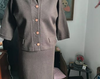 1960s Wool Jersey Two Piece Suit