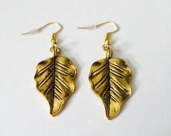 CLEARANCE! Antique Gold Plated Leaf Earrings.