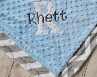 Minky Lovey Baby Blanket - 14 inch Woobie, Light Blue and gray Chevron Zig Zag -  Personalized Monogrammed Newborn