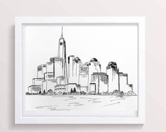 New York skyline, City prints, Black and white print, Urban sketch, New York Drawing, Pen and Ink drawing, Minimalist art