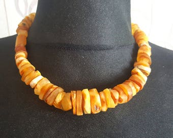 Authentic Natural Baltic Amber Royal White, Butterscotch Amber Bernstein Necklace Lithuania, beads 4-25mm, 49 g