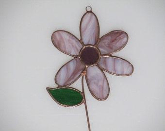 Stained Glass Purple Wispy Mom's Flower Suncatcher