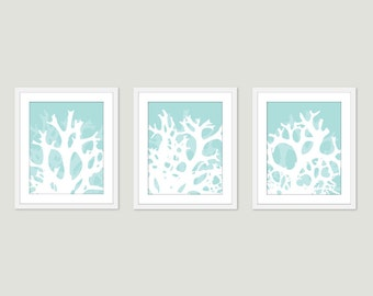 Coral Art Prints - Coral Wal Art - Nautical Wall Art - Coastal Art - Coastal Decor - Set of 3  prints - 5x7 or 8x10 - Frames not included
