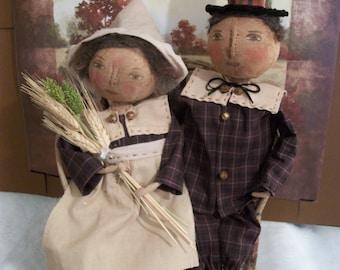 PATTERN for Primitive dolls,adorable Pilgrim couple,original by Dumplinragamuffin, #PO135