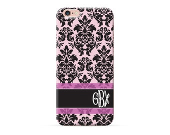 Personalized phone case, personalised iPhone x case, monogrammed iPhone 8 case, monogram iPhone 7 plus case, Soft Pink with Black Damask