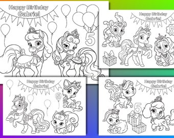 Princess Palace Pets Birthday Party coloring pages, activity, PDF file