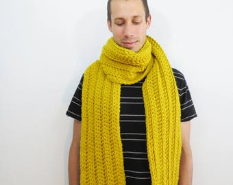 Mens Yellow Scarf. Long Chunky Scarf. Winter Scarf for Men. Gold Crochet Scarf. Long Knit Scarf. Unisex Red Scarf. Ribbed Knit Scarf.