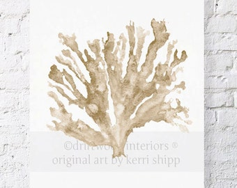 Sea Coral in Natural 8x10 - Sea Coral Wall Art in Natural Taupe - Seaweed Watercolor Print