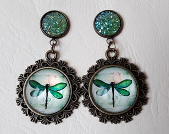 ♥ ♥ Stud Earrings green stones and glass cabochon dragonfly ♥