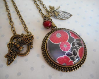 "Vintage ""Red flowers"" necklace black, red, flowers, bronze charm, dragonfly, leaf, Pearl - mother's day"