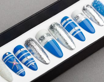 Blue Ocean Press on Nails with Glitters | Hand painted Nail Art | Fake Nails | False Nails | Artificial nails