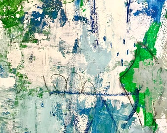 Original Abstract Painting on Paper, modern home decor, art