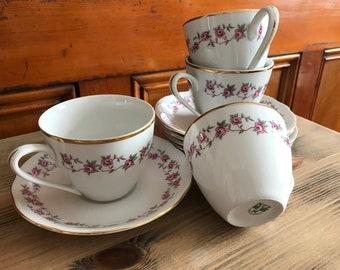 4pc Tea Cup Set plus extra plate
