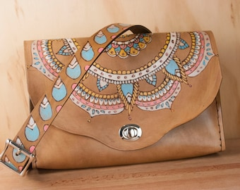 Hip Bag - Leather Convertible Clutch, Waist Bag, or Crossbody Purse in the Mandala Pattern with Matching Strap - Pink, Aqua, Antique Brown
