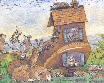 Gallois impression d'art Corgi chien 8 x 10 - il y a une vieille dame qui a vécu dans un lots de chaussure de chiots comptine