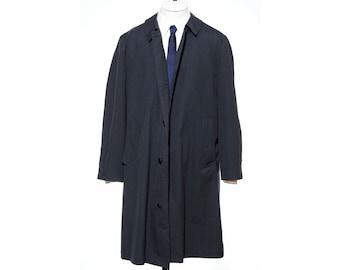 42R Vintage 60s Classic BLUE Size L Raincoat Overcoat Rain Trench Coat Jacket Plush Zip-In Liner vtg