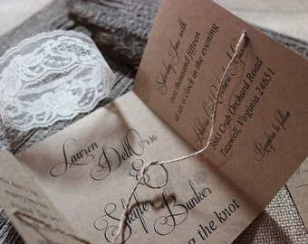 Tie the knot Wedding Invitation, Rustic Wedding Invitation, Chic Wedding Invitation, Tying the Knot Wedding Invitation