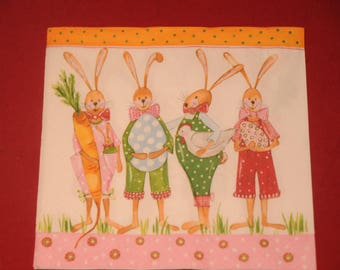 "theme ""meeting of bunnies"" Easter napkin"