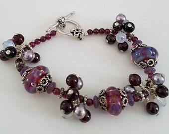 Purple & Garnet Bracelet, Charm Bracelet