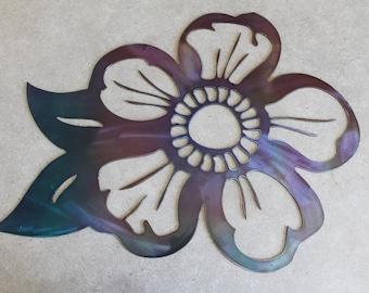Metal Flower Wall Art purple and blue