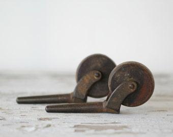 antique wood & metal industrial caster wheels