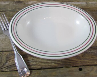 Vintage Caribe China Restaurant Ware Oval Bowl Red & Green Stripes Puerto Rico
