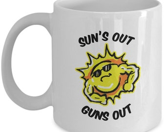 Fitness Gifts Sun's Out Guns Out mug - sunshine/sunny cup with custom sunburst muscle art!