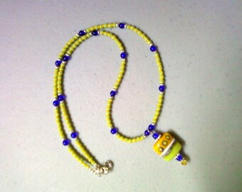 Lime Green, Yellow and Cobalt Blue Necklace (0627)