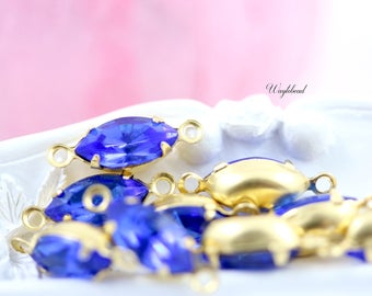 Vintage Glass Navette Stones Petite Drops Connector Link Marquise Brass Settings Sapphire Blue 10x5mm - 6
