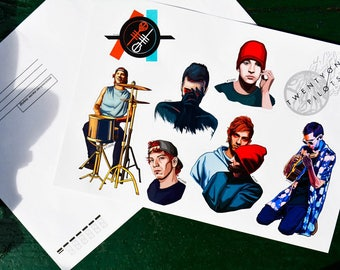 Twenty One Pilots — Stickers Pack, Josh Dun, Tyler  Joseph, Waterproof, Glossy, CLIQUE|   Free shipping| Free shipping