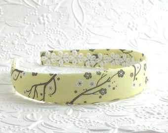 Fabric Headband, Girls Headband, Plastic Headband, Yellow and Grey Headband, Preppy Headband, Big Girl Headband, Adult Plastic Headband