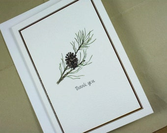 Pinecone Notecards, Evergreen Pine Bough Winter Thank You Notes, Card Set, Set of 8, Boxed Set