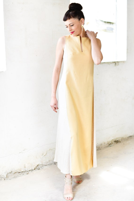 Dress Cream Sleeveless Boat Bridesmaid Dress Women Elegant Dresses Wear Deep Linen Shift Neckline Slit Dresses Casual Maxi Dress Dress qIIrwBz