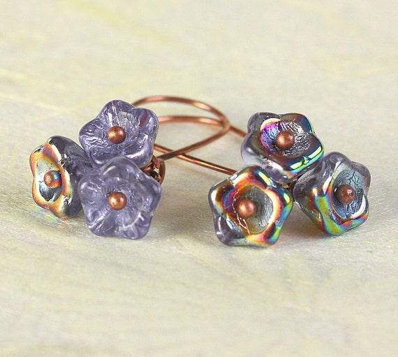 Handmade Vitrail Alexandrite blue Czech bell flower floral dangle earrings READY to ship (371)