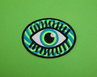 Eyeball Patch - Made with Vegan Iron-On Adhesive - Embroidery Sewing DIY Customise Denim Psychedelic Hipster Trippy Stoner Retro Vintage 60s