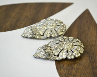 1930s Daisy Rhinestone and Pot Metal Dress Clips, Set of 2
