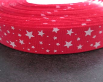 Red Gros Grain Ribbon with white stars on 16mm sold per meter