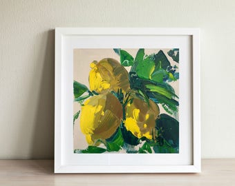Lemon Painting Oil Painting Fruit Painting Yellow Painting Small Art Kitchen Decor Wall Art Modern Painting Gifts for Her Gifts for Mom