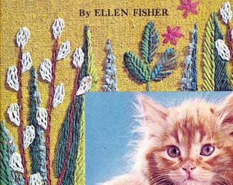 Big Golden Book Tell Me Cat crewel embroidery children